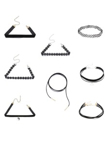8PCS Black Choker Set