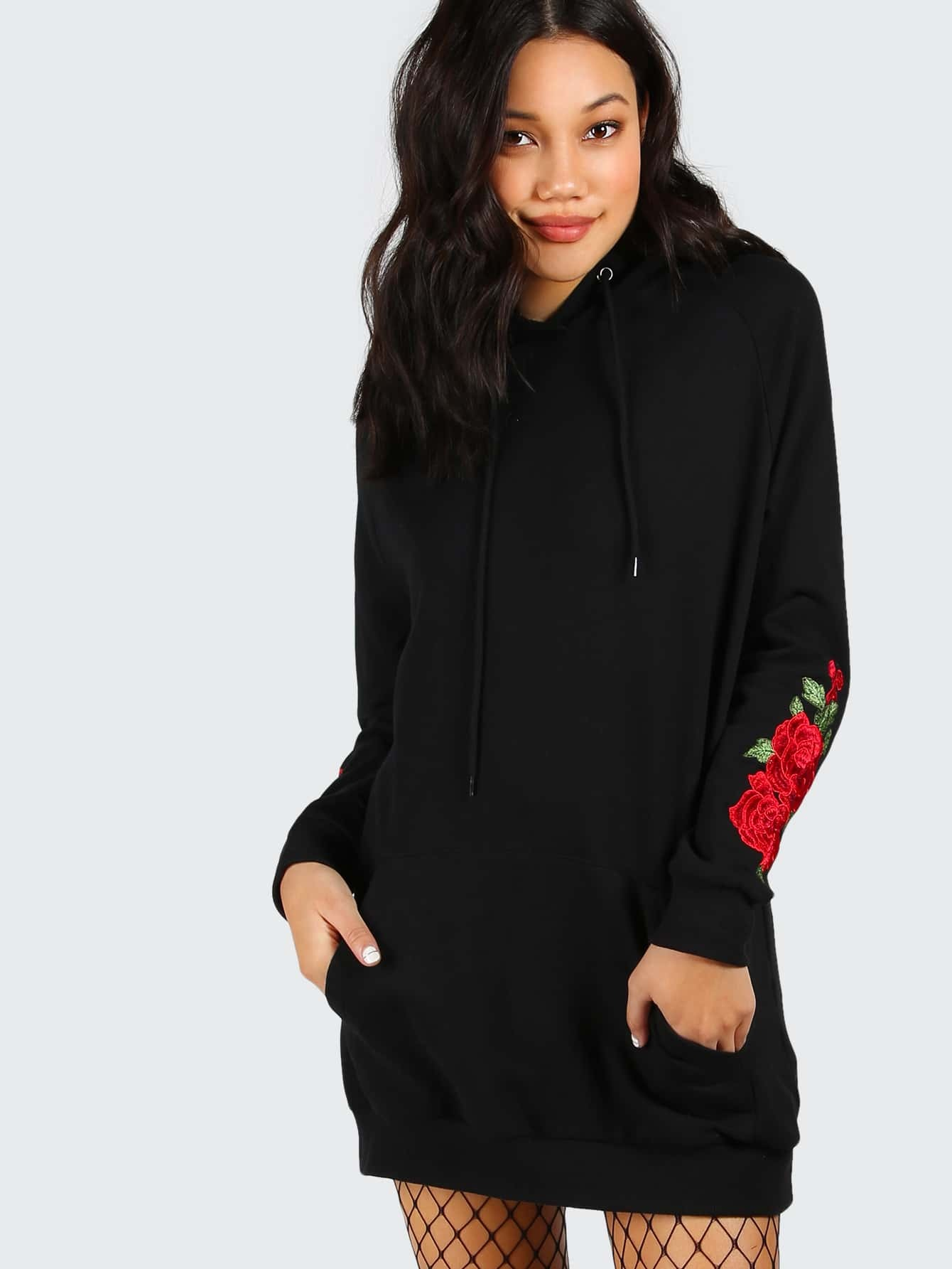 Black drop shoulder embroidered rose sleeve hoodie shein