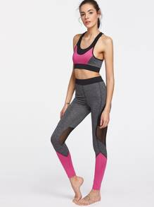 Contrast Trim Space Dye Mesh Paneled Activewear Sets
