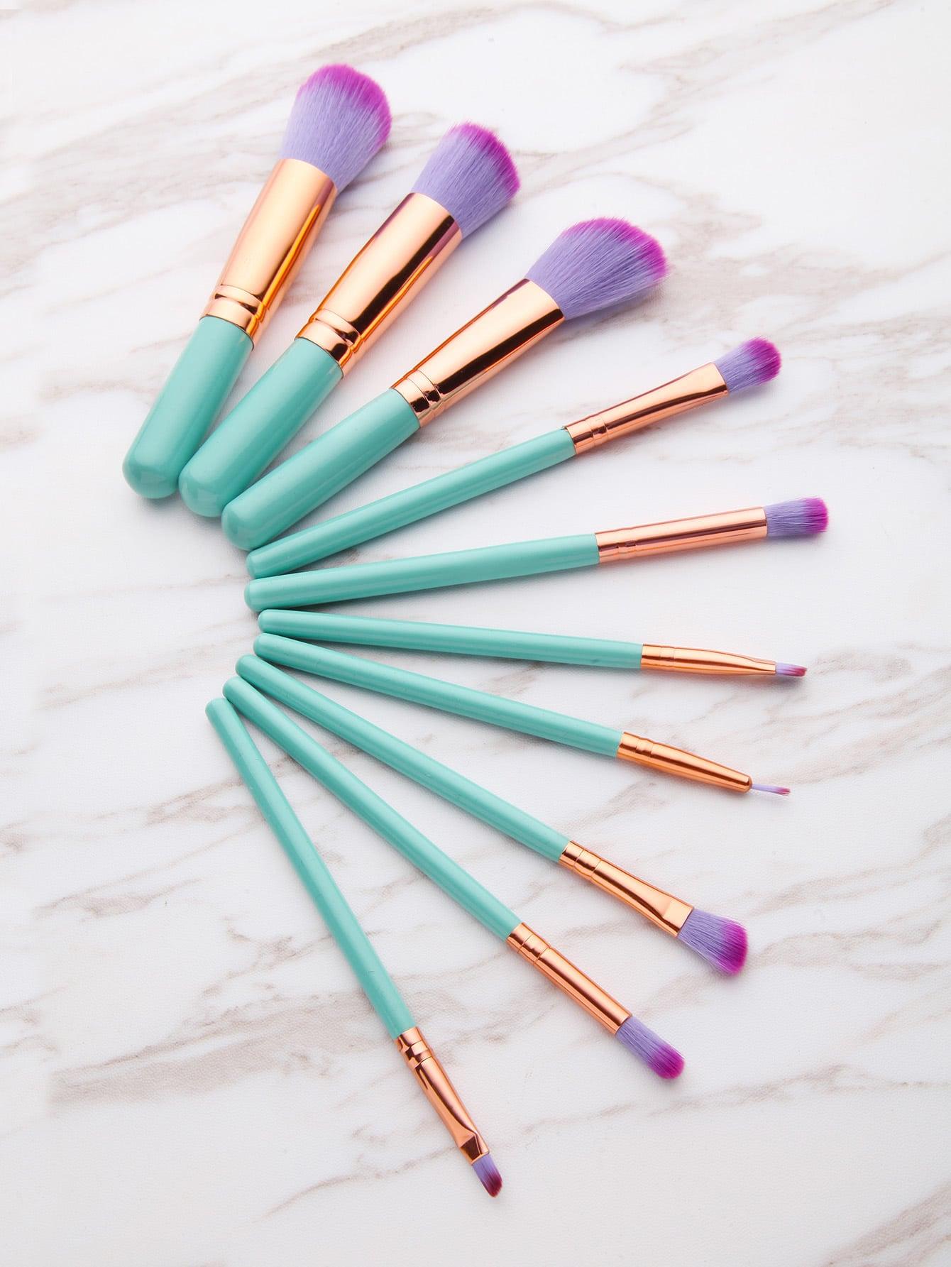 10PCS Green Professional Makeup Brush Set