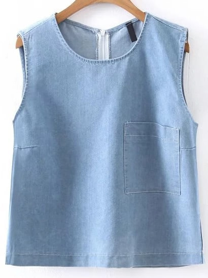 Denim Tank Top With Zipper Back blouse170331201