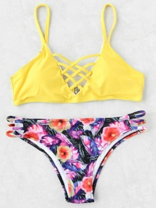 Set bikini cruzado con estampado floral mix & match - amarillo