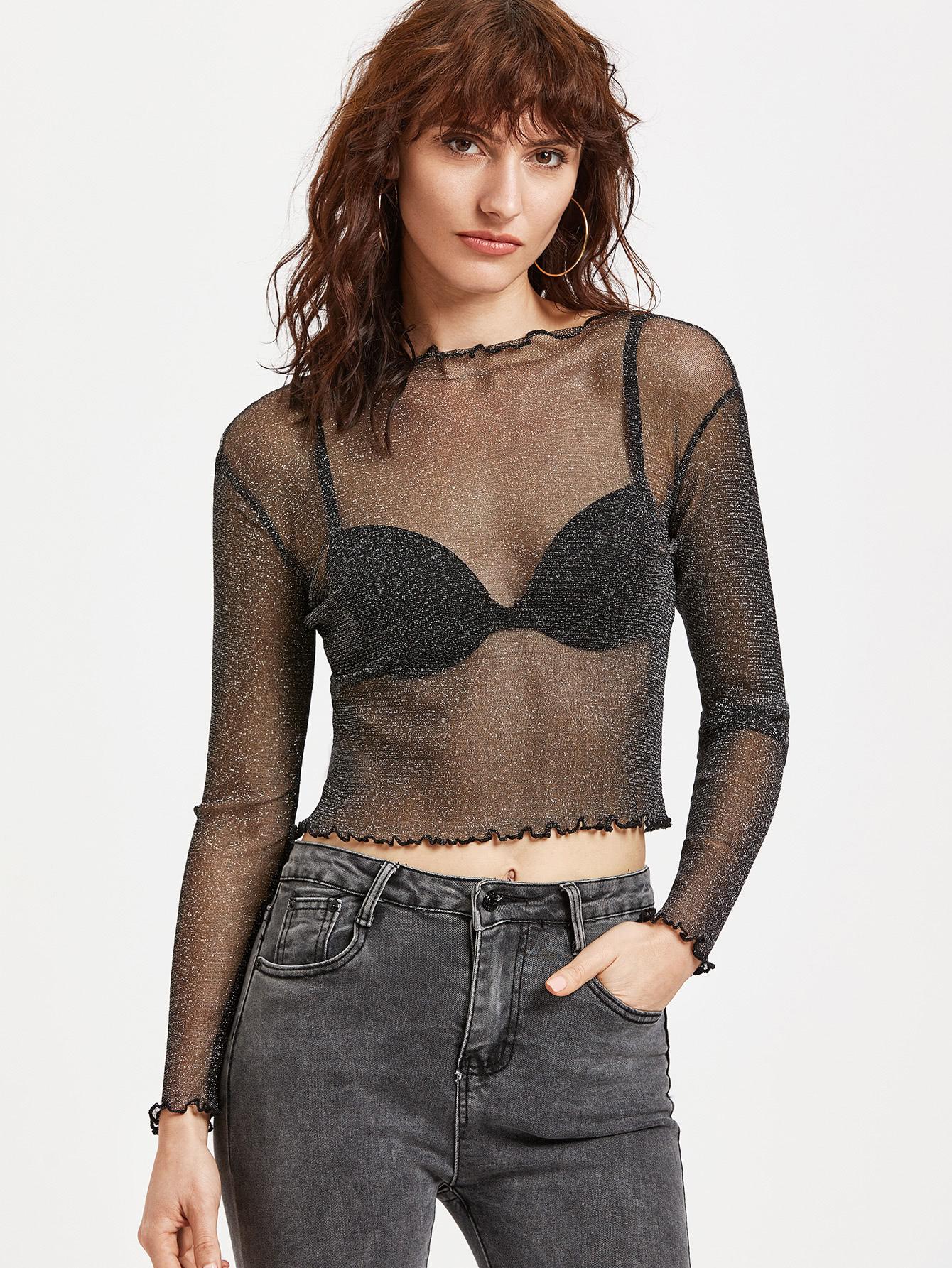Black Sparkle Sheer Mesh Ruffle Top blouse170306301
