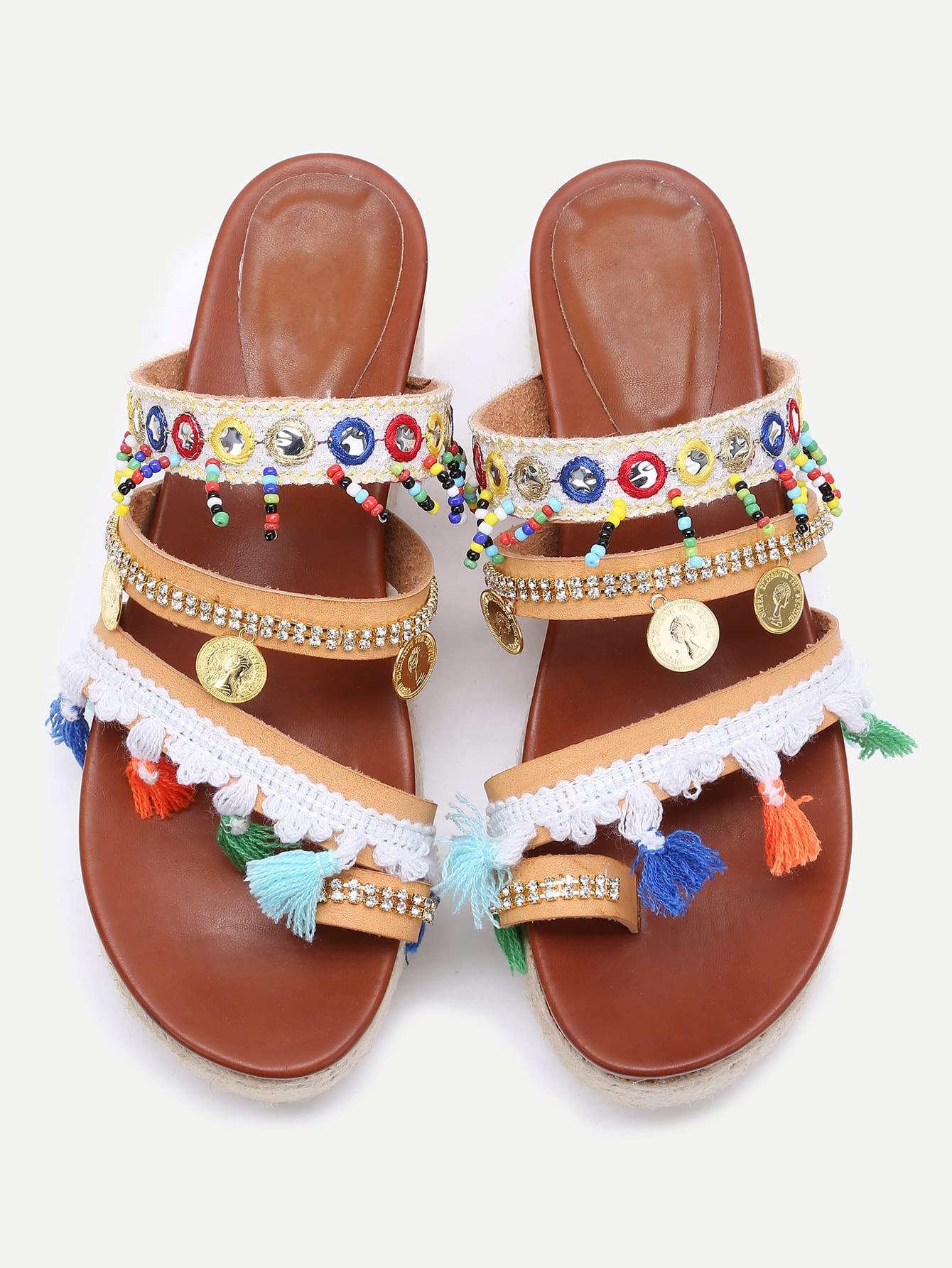 Фото Apricot Open Toe Coin Fringe Trim Flatform Sandals. Купить с доставкой
