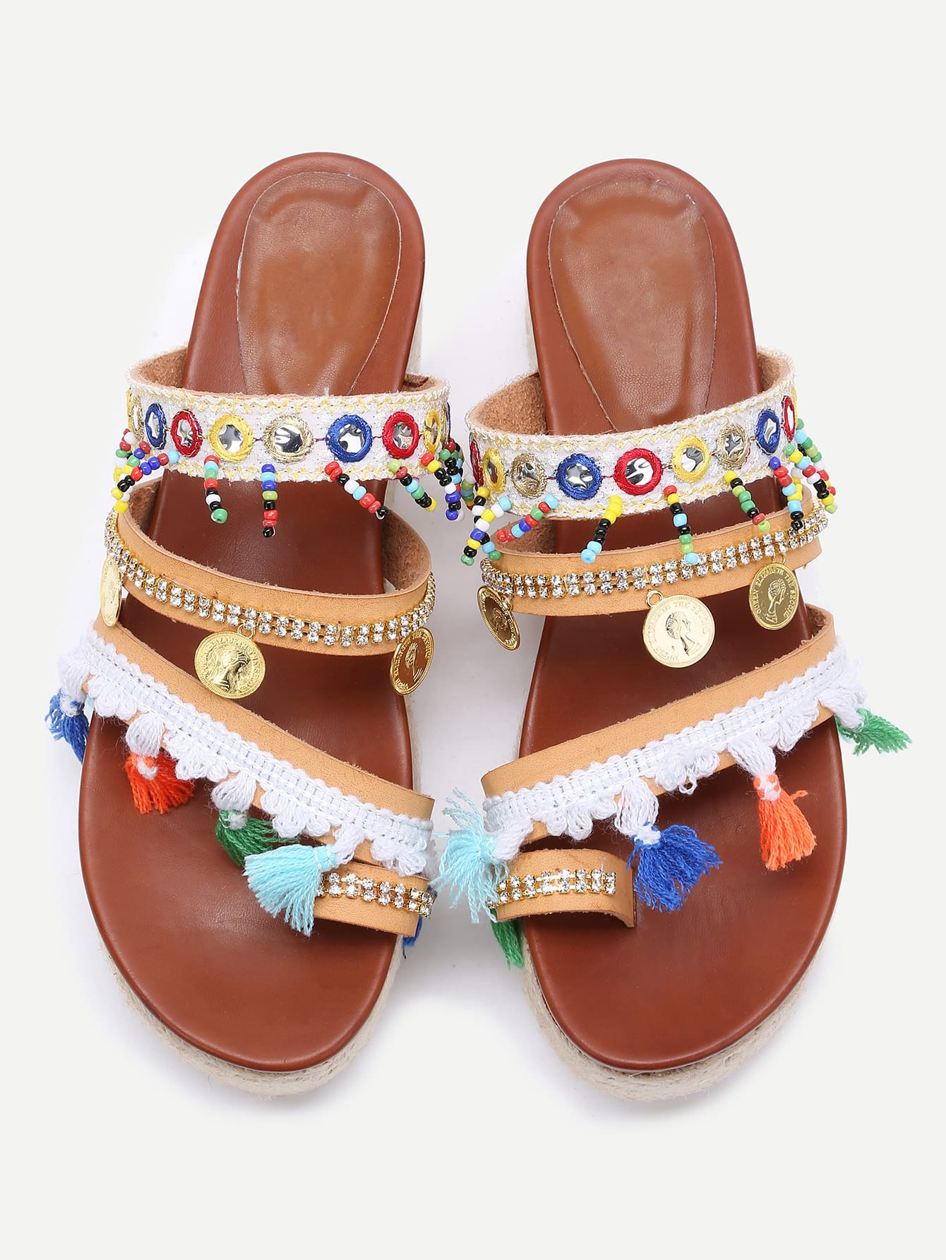 Image of Apricot Open Toe Coin Fringe Trim Flatform Sandals