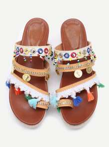 Apricot Open Toe Coin Fringe Trim Flatform Sandals