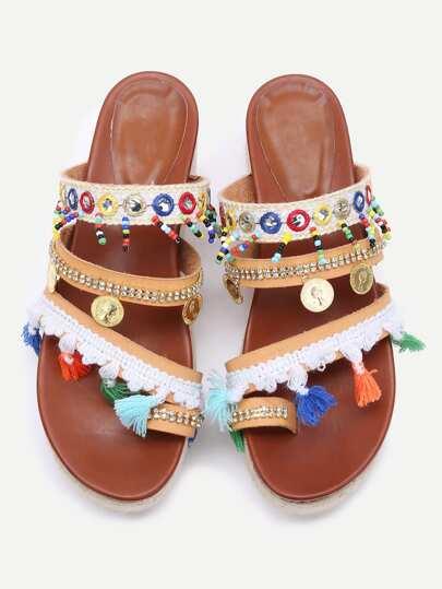 Albicocca Open Toe Sandals Coin Fringe Trim Flatform