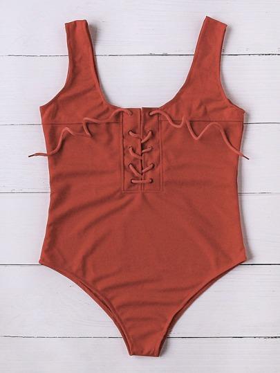 Lace Up Scoop Neck One-Piece Swimwear