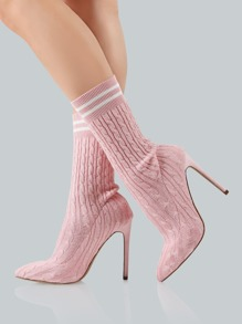 Point Toe Sock Booties PINK