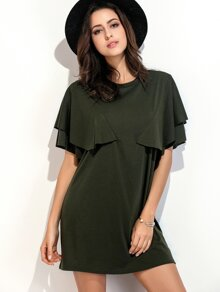 Army Green Ruffle Trim Tee Dress