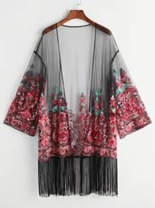 unter Kimono gesäumt mit Mesh gestickt - schwarz