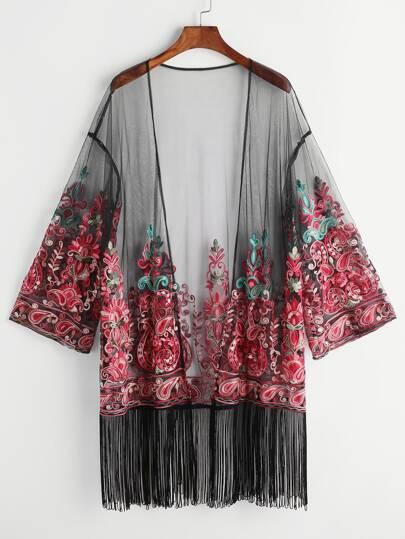 Fringe Trim Paisley Embroidered Mesh Kimono