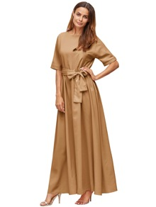 Khaki Tie Front Detail Maxi Dress