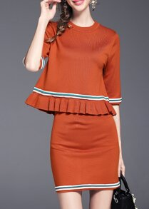 Orange Ruffle Color Block Top With Skirt