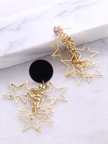 Gold Star Shaped Drop Earrings