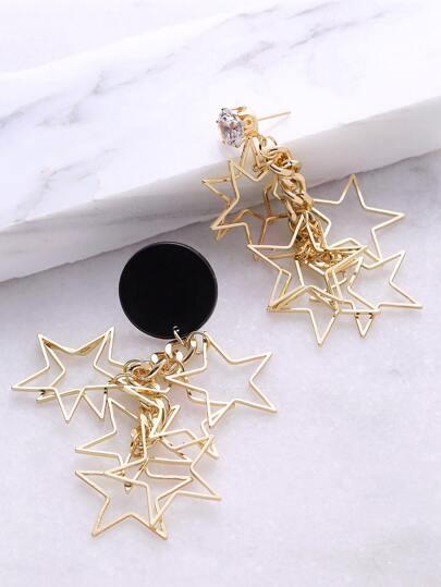 Gold Star Shaped Drop Earrings