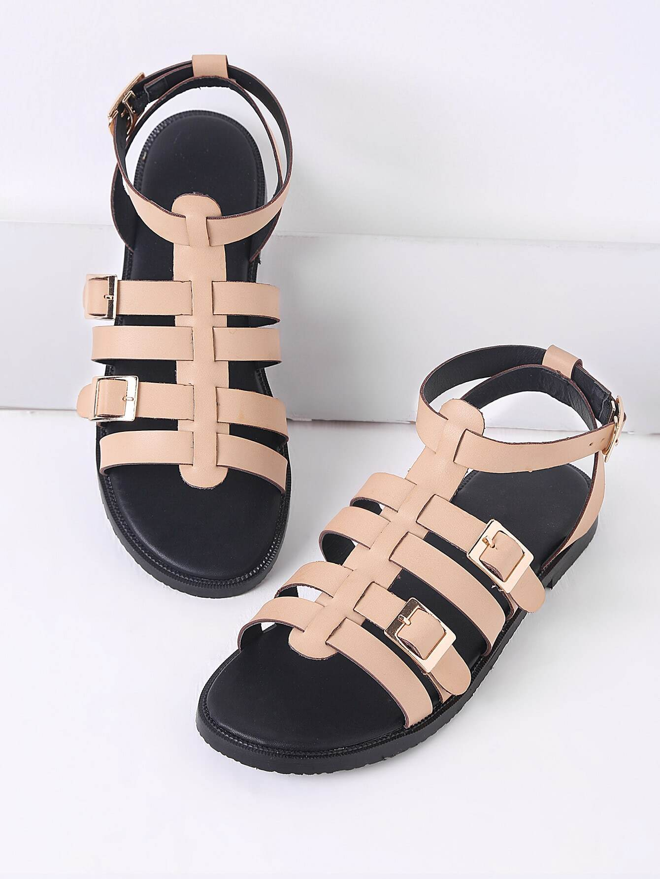 Фото Apricot Buckle Detail Gladiator Flat Sandals. Купить с доставкой