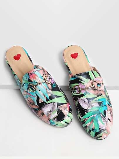 Multicolor Leaf Print Loafer Slippers