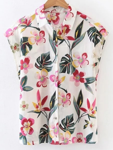 Floral Print Button Front Blouse