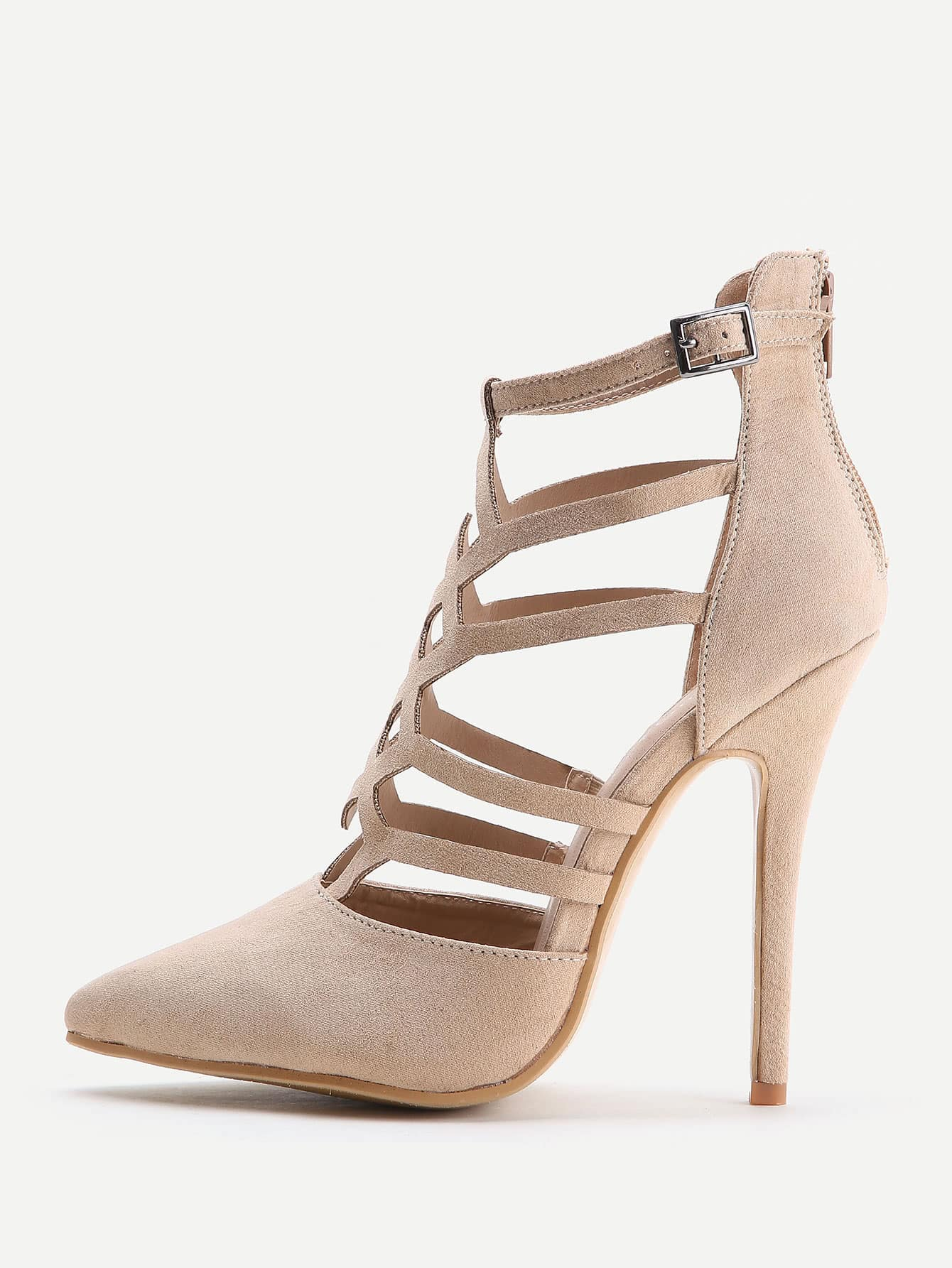 Image of Apricot Cutout Zipper Back Stiletto Heels