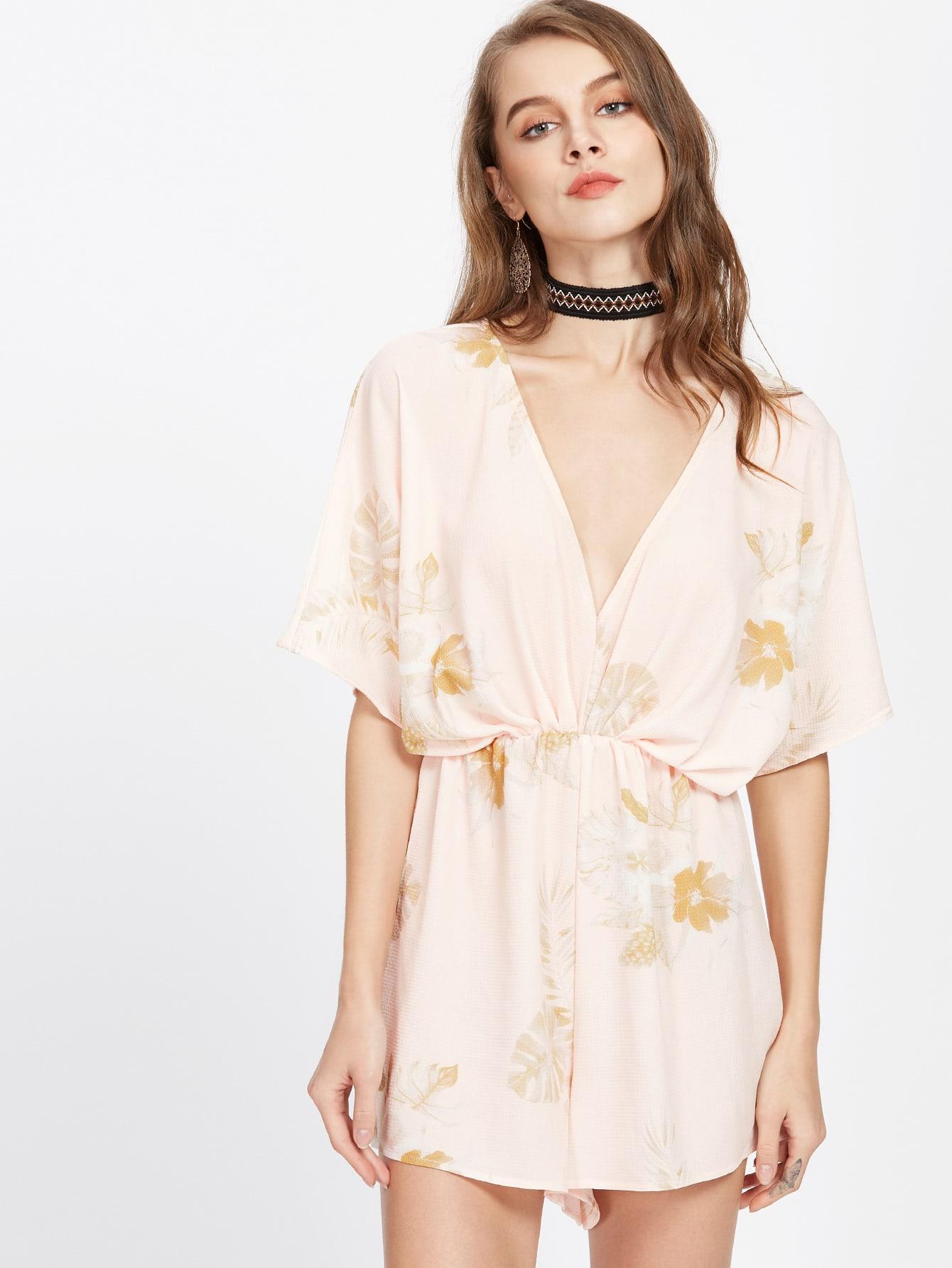Фото Tropical Print Plunging Elastic Waist Kimono Playsuit. Купить с доставкой