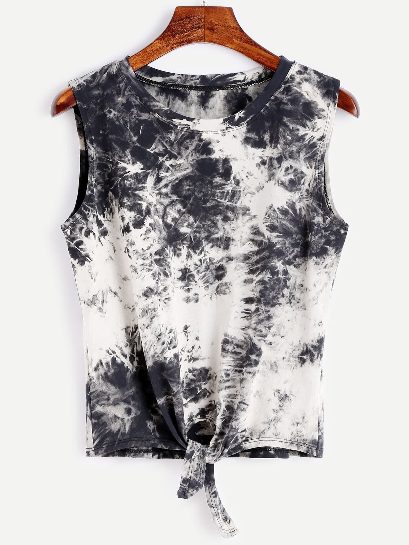 Image of Bleach Dye Knot Front Tank Top