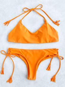 Set bikini halter con cordón lateral - amarillo