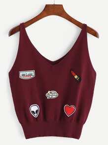 Camisola de punto con cuello en V con detalle de parche de bordado