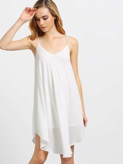 Double V-cut Crossover Back Dip Hem Dress