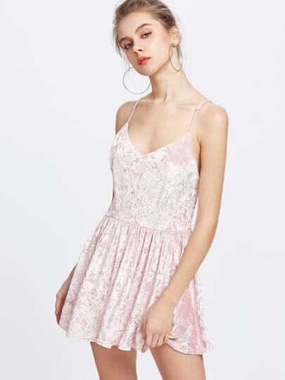 Criss Cross Backless Velvet Cami Dress