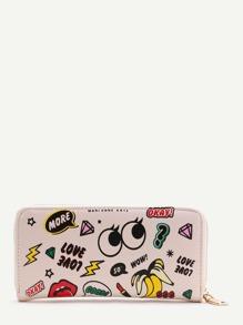 Cute Eye Print Zipper Wallet