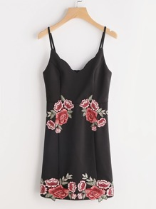 Black Embroidered Rose Applique Cami Dress