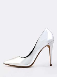 Point Toe Metallic Heels SILVER