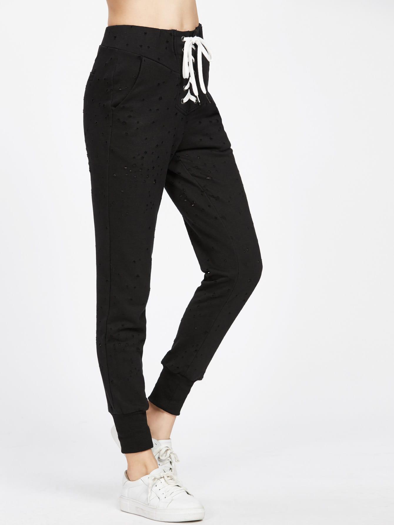 Фото Drawstring Waist Distressed Sweatpants. Купить с доставкой