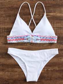 Geometric Print Triangle Bikini Set