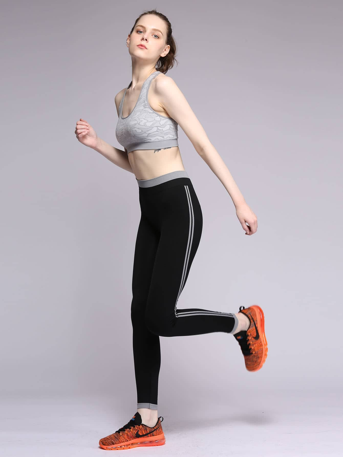 Фото Contrast Trim Striped Side Leggings. Купить с доставкой