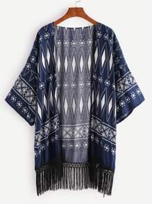Kimono con estampado geométrico bajo con flecos - marino