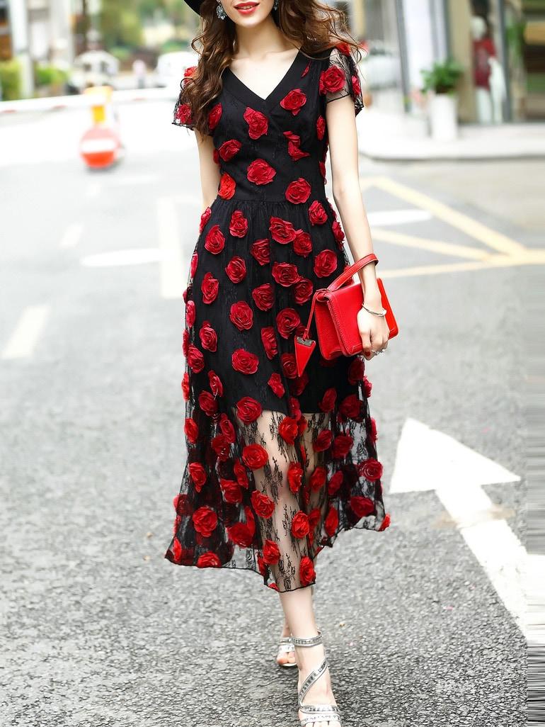 Купить Чёрное модное платье с цветочной вышивкой и V-образным вырезом, null, SheIn