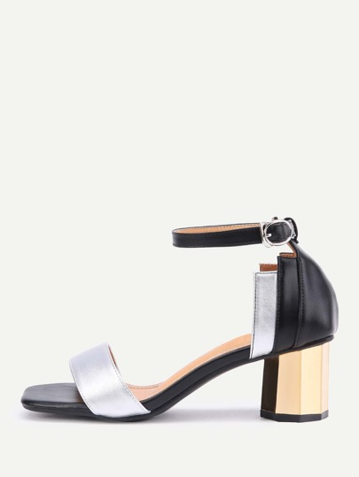 Color Block Two Part Block Heeled Sandals