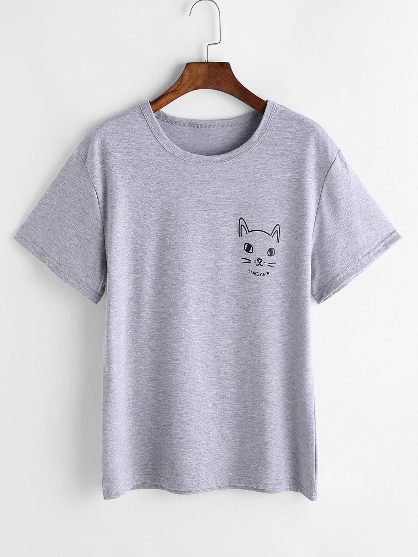 Фото Heather Grey Cat Print T-shirt. Купить с доставкой