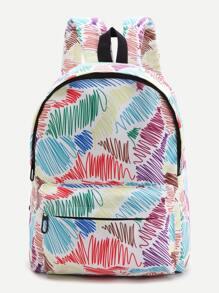 Multicolor Graffiti Print Front Pocket Backpack
