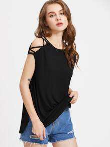 T-Shirt Asimmetrico Spalle Incrociate Tagliate - Nero