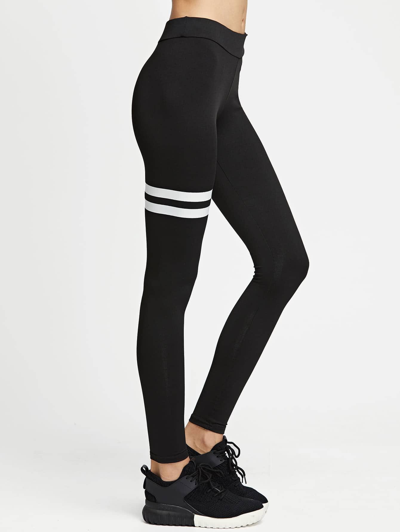 Фото Striped Panel Stretchy Leggings. Купить с доставкой