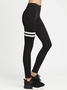 Striped Panel Stretchy Leggings