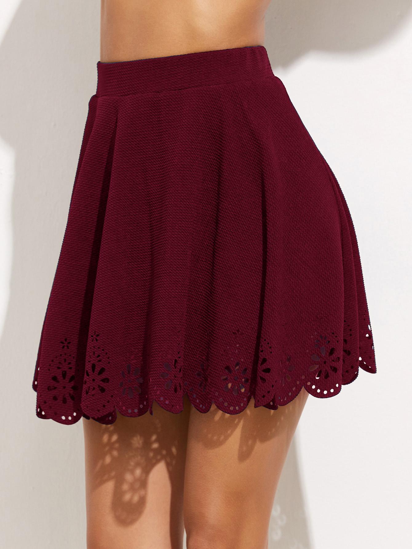 Купить Бордовая модная юбка с фестонами, Giulia, SheIn