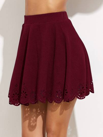 Laser Cutout Scallop Hem Pleated Skirt