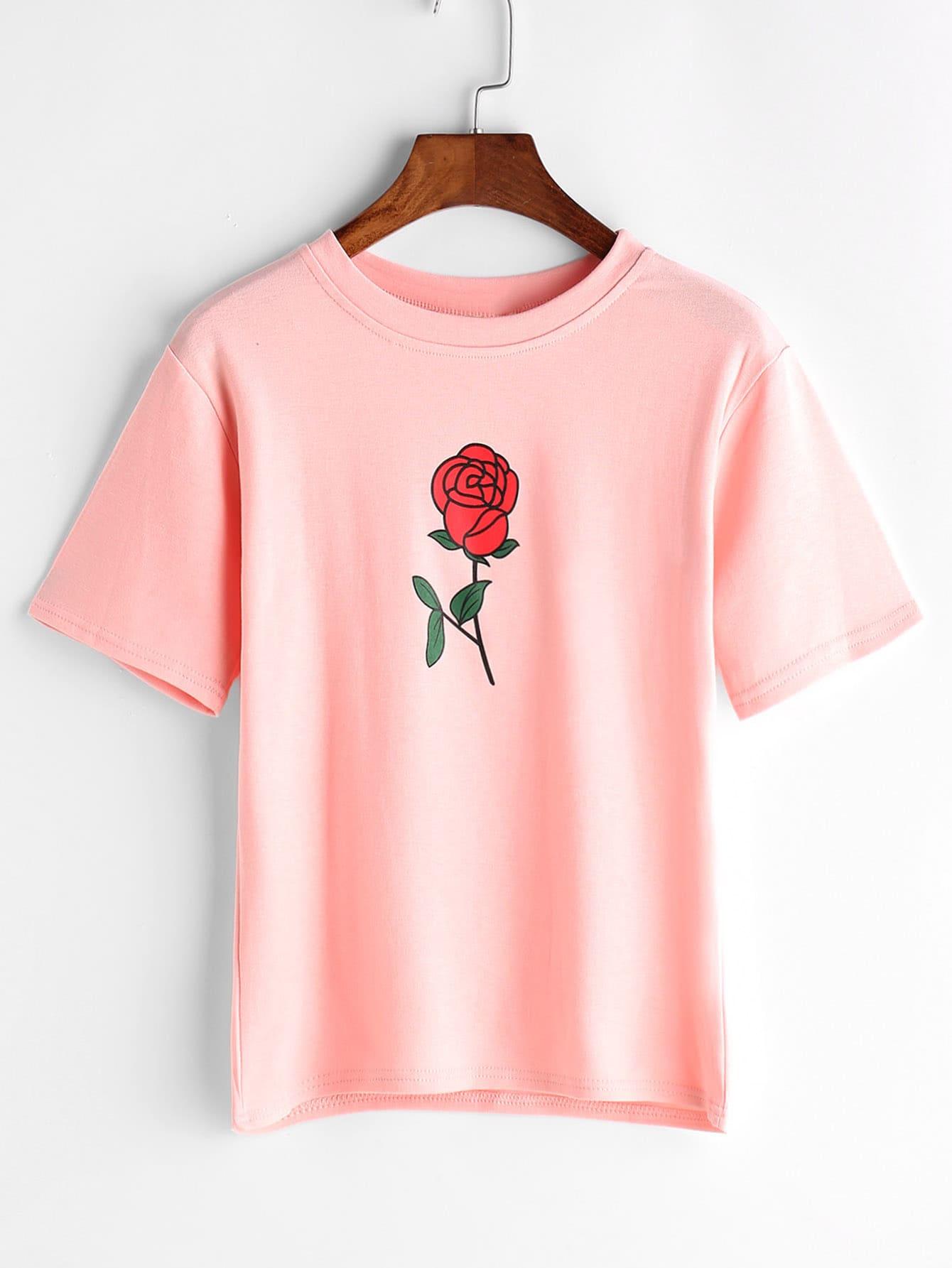 Фото Rose Print T-shirt. Купить с доставкой