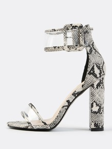 Clear Panel Ankle Strap Reptile Heels SNAKE