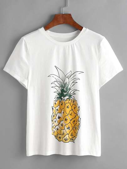 White Pineapple Print Short Sleeve T-shirt