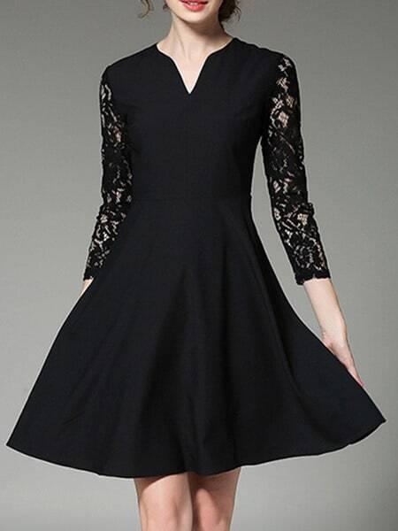 Фото Black V Neck Contrast Lace Sleeve Dress. Купить с доставкой